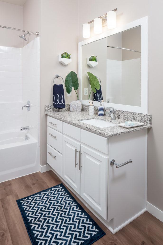 Bathroom vanity with granite countertops and bathtub